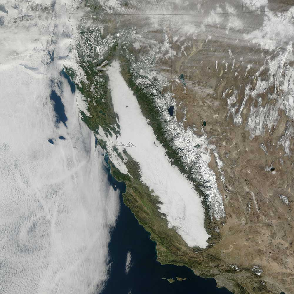 Tule fog fills California's Central Valley in a satellite image taken Jan. 17, 2011. Credit: NASA Earth Observatory image by Jesse Allen with data from the Land Atmosphere Near real-time Capability for EOS (LANCE).