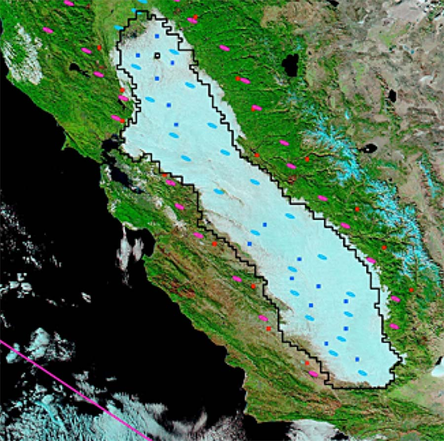 Tule fog fills the Central Valley of California on December 2, 2008. Blue squares and ellipses represent the pixels in the Central Valley that were evaluated in the Advanced Very High Resolution Radiometer (AVHRR) and Moderate Resolution Imaging Spectroradiometer (MODIS) products, respectively. Red squares and pink ellipses represent pixels outside the valley that serve as reference points to the AVHRR and MODIS products. Together, the squares and ellipses are used to determine if the scene is representative of a tule fog day for AVHRR and MODIS. The black polygon outlines the average extent of typical fog episodes in the Central Valley, as detected by AVHRR. (Courtesy D. Baldocchi and E. Waller, 2014, Geophysical Research Letters)